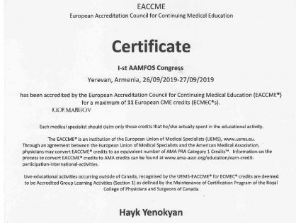 AAMFOS 2019 european credit